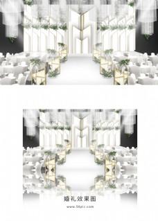 白色简约婚礼舞台效果图