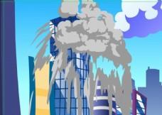 飞机误撞大楼引起爆炸10秒
