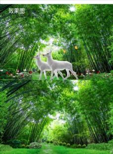 竹林梦幻美丽自然风景视频