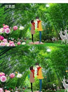竹林情侣背景视频