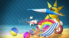 夏天沙滩海洋动画