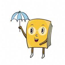 打伞的书本装饰插画