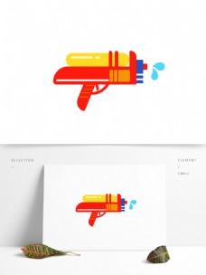 夏季卡通红色水枪元素
