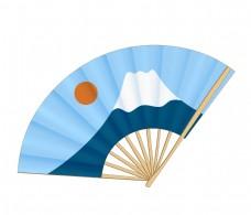 唯美富士山折扇插图