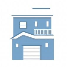 天蓝色房屋建筑插画