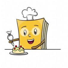 做蛋糕的书本装饰插画