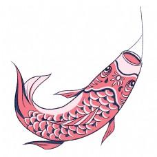 日本红色的鲤鱼旗插画