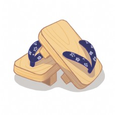 日本特色木屐鞋子插画