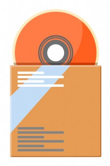 橘色的光盘办公插画