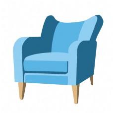 天蓝色家具椅子插画