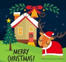 卡通圣诞木屋和驯鹿
