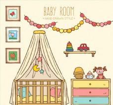 彩绘温馨婴儿房设计