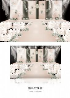 简约香槟色主舞台婚礼效果图