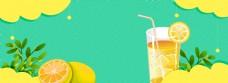 夏日清凉柠檬饮料降暑淘宝海报背景