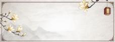 中国风花朵质感水墨banner