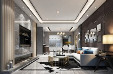 后现代客厅效果图3D模型