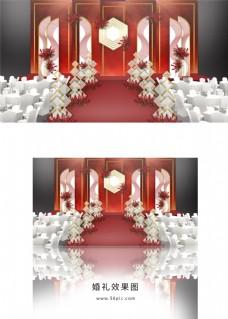 红色简约婚礼舞台效果图