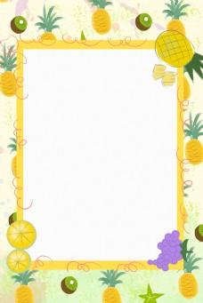 卡通菠萝边框背景