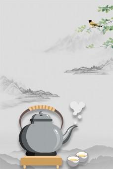 复古水墨中国风茶道平面素材