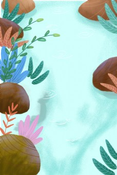 绿色的河水插画背景