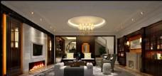 美式轻奢客厅效果图3D模型
