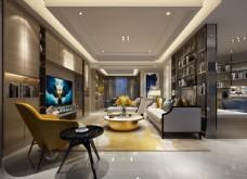 现代简约客厅效果图3D模型