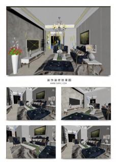 蓝色豪华欧式客厅书架满铺壁纸效果图