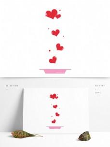 红色爱心母亲节元素
