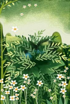 小清新绿色叶子花朵背景海报