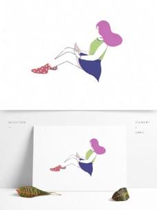 卡通手绘坐在地上看书的女孩