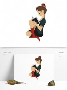 卡通可爱看书的女孩子插画人物设计