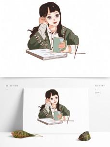手绘看书喝咖啡的女孩文艺设计