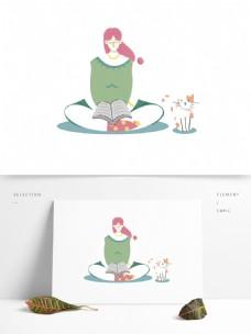 卡通在治愈系看书的女孩和猫咪