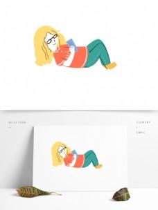 卡通手绘躺着看书的女孩