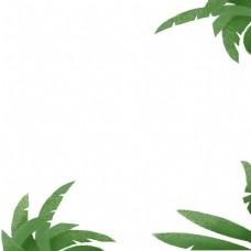 绿色叶子边框免抠图