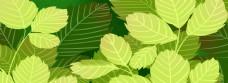 春天绿色叶子创意背景海报