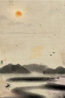 典雅质朴复古水墨海报背景
