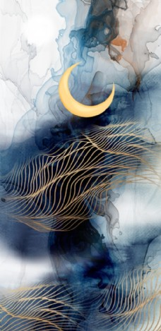 玄關月亮抽象線條水墨壁畫