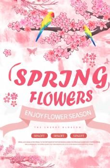 粉色唯美春季赏花纯英文海报