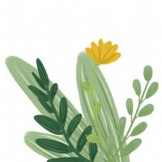 水彩彩绘黄色花朵植物免抠图