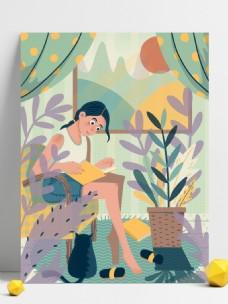 绿色唯美清新女孩插画背景设计