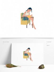 原创沙发看书女孩元素设计