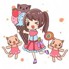 儿童节女孩和甜品小猫