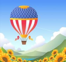 创意向日葵花海上的热气球