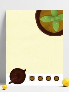 手绘可爱春茶背景素材