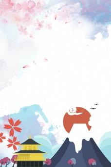 樱花雪山富士山背景海报