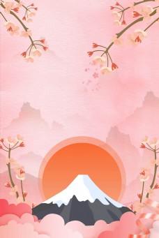 日风富士山背景海报