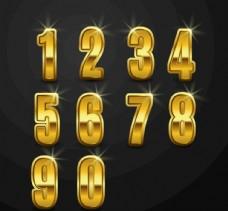 10款金色數字藝術字