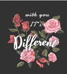 玫瑰花手写英文字体海报