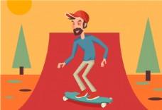手绘带帽子的男人在玩滑板插画